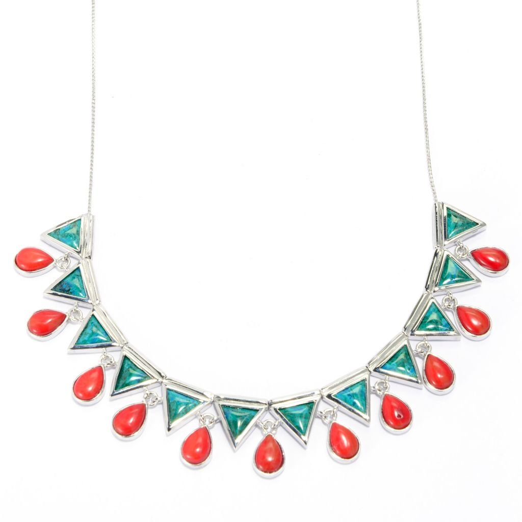 "139-283 - Elements by Sarkash 18"" Chrysocolla & Red Coral Geometric Necklace"