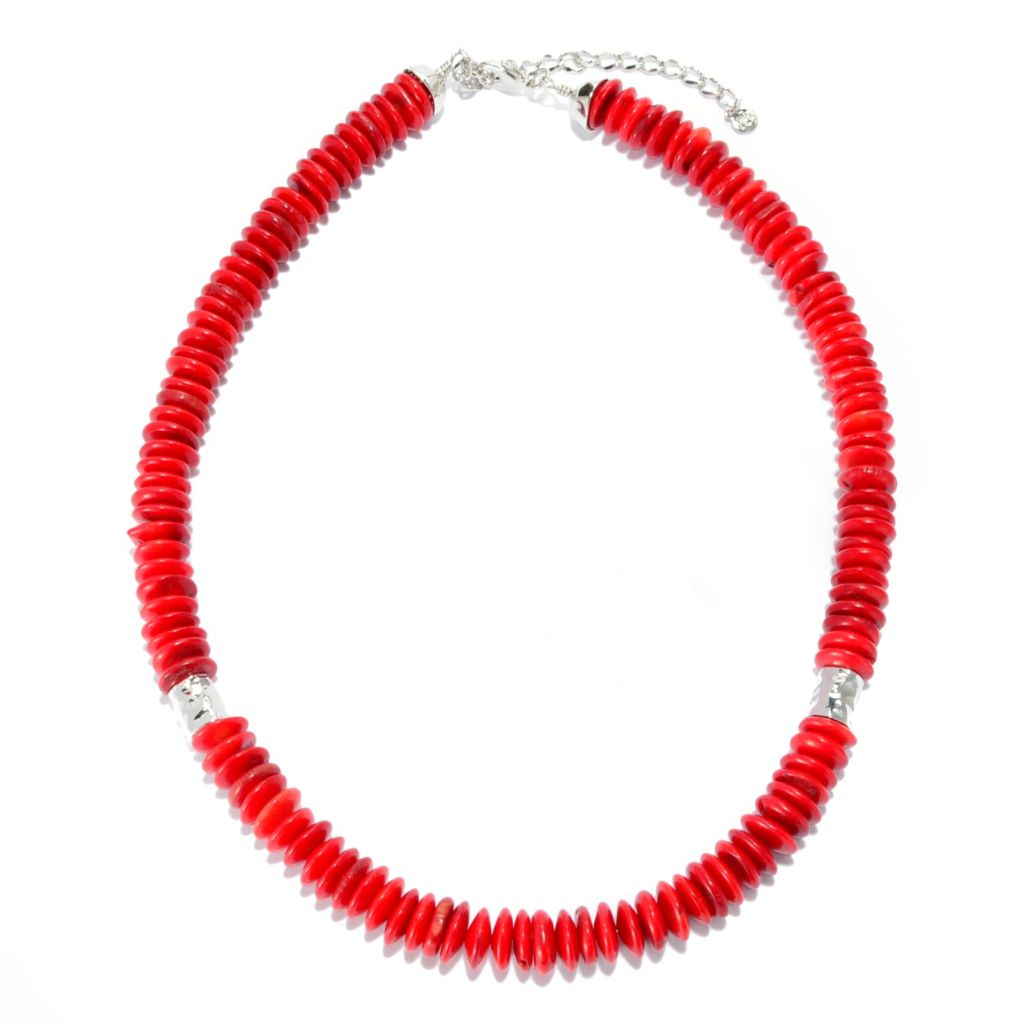 "139-284 - Elements by Sarkash 18"" 10mm Red Coral Disk & Hammered Bead Station Necklace"
