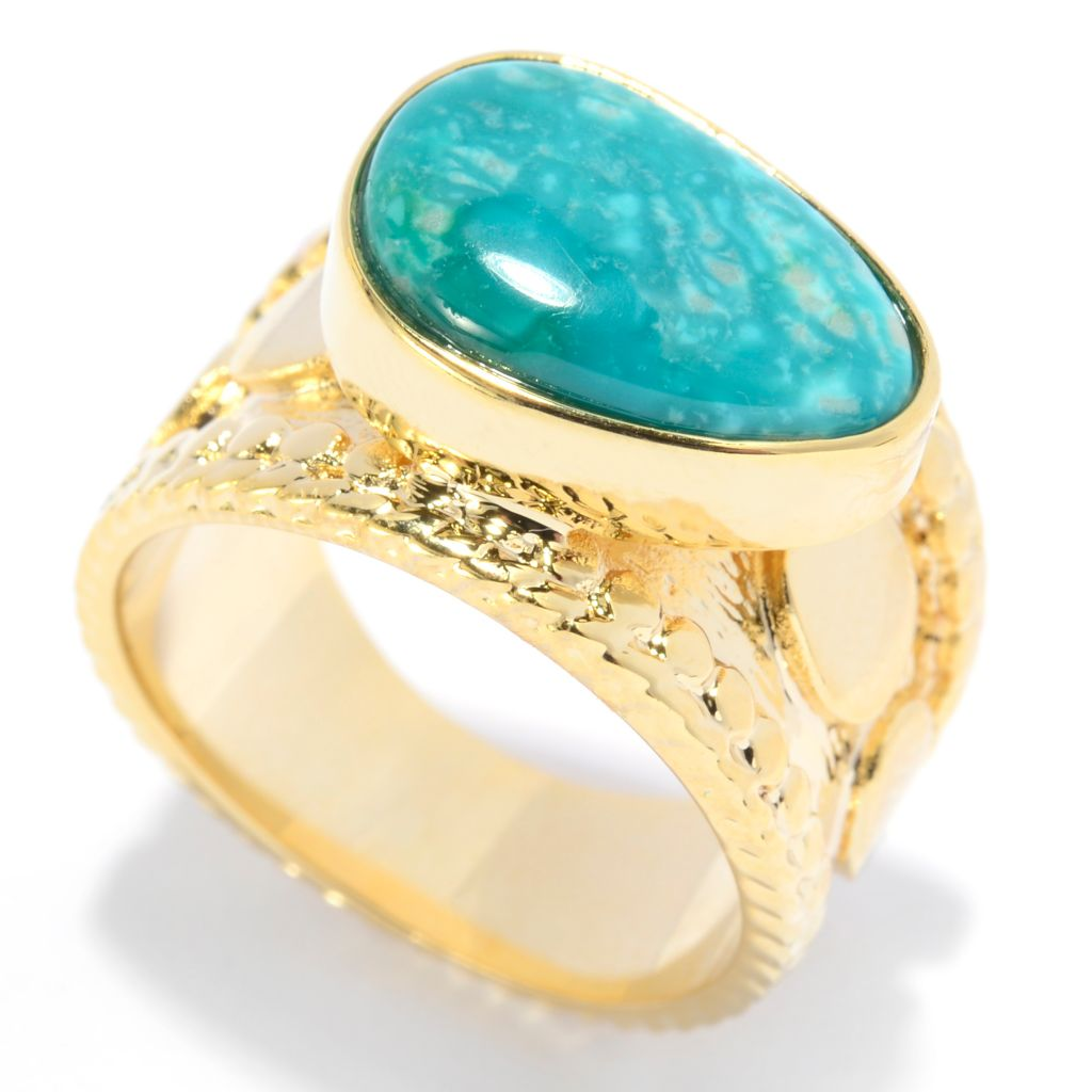 139-287 - Elements by Sarkash 13 x 9mm Freeform Fox Turquoise Bead Textured Wide Band Ring