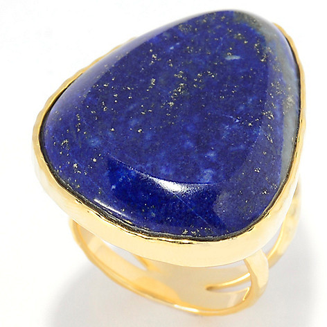 139-289 - Elements by Sarkash 31 x 22mm Freeform Lapis High Polished Split Shank Ring