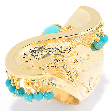 139-290 - Elements by Sarkash Turquoise Bead Textured Swirl Elongated Ring