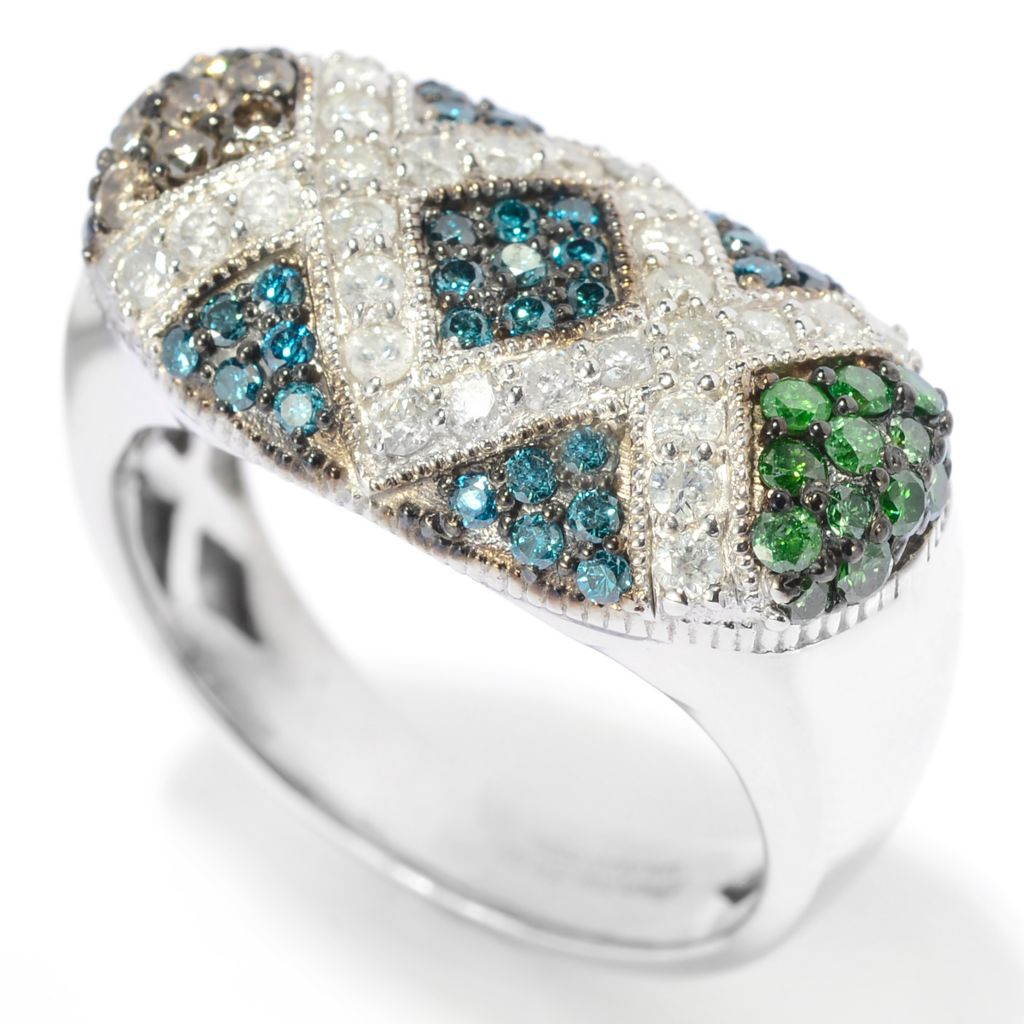 139-295 - Diamond Treasures 0.98ctw Fancy Color Diamond Rectangular Flat Top Ring