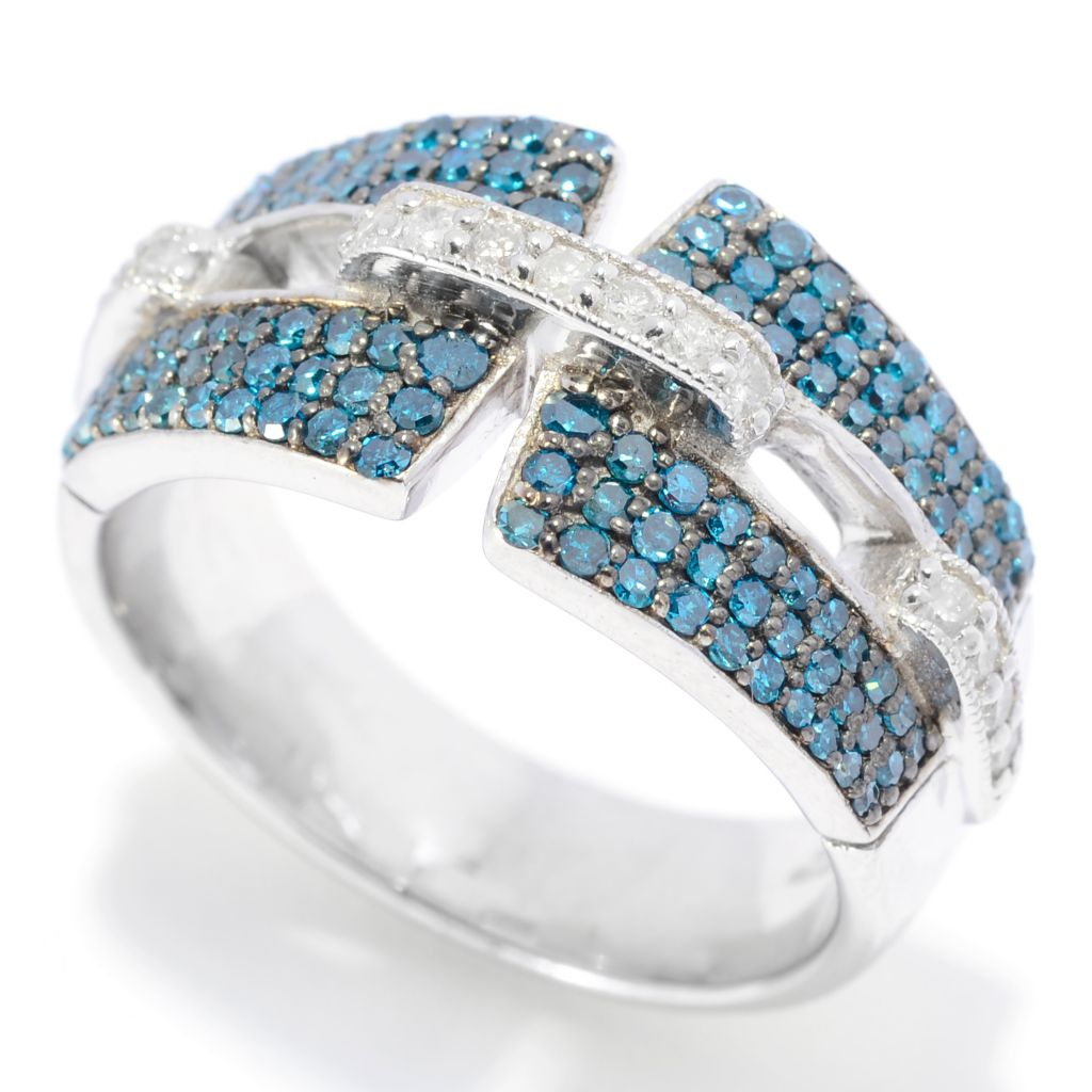 139-296 - Ultimate Silver™ 0.83ctw Fancy Color Diamond Geometric Band Ring