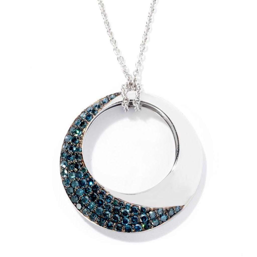 139-299 - Diamond Treasures 0.69ctw Fancy Color Diamond Half Moon Circle Pendant w/ Chain