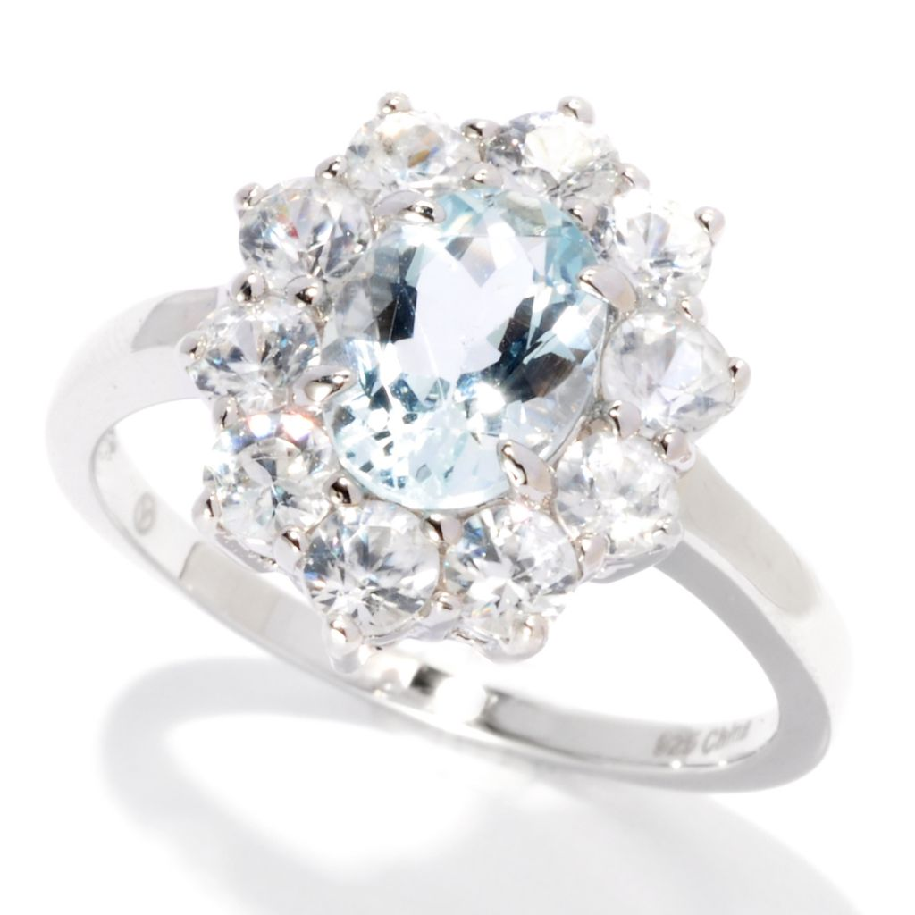 139-302 - Gem Treasures Sterling Silver 2.35ctw Aquamarine & White Topaz Halo Ring