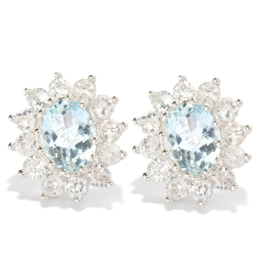 139-303 - Gem Treasures Sterling Silver 3.20ctw Aquamarine & White Topaz Oval Halo Earrings
