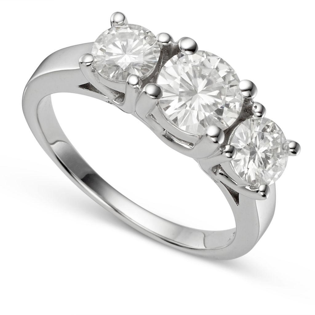 139-304 - Forever Brilliant® Moissanite 14K White Gold 2.70 DEW Round Cut Three-Stone Ring