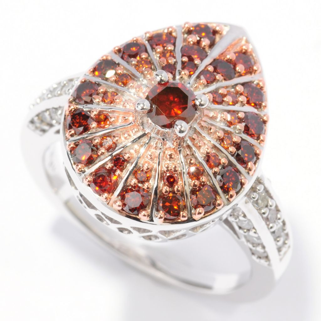 "139-309 - ""As Is"" Sterling Silver Enhanced Red & White Diamond Ring - Size 7"