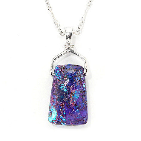 139-312 - Gem Insider® Sterling Silver 36 x 22mm Purple Kingman Turquoise Pendant w/ Chain