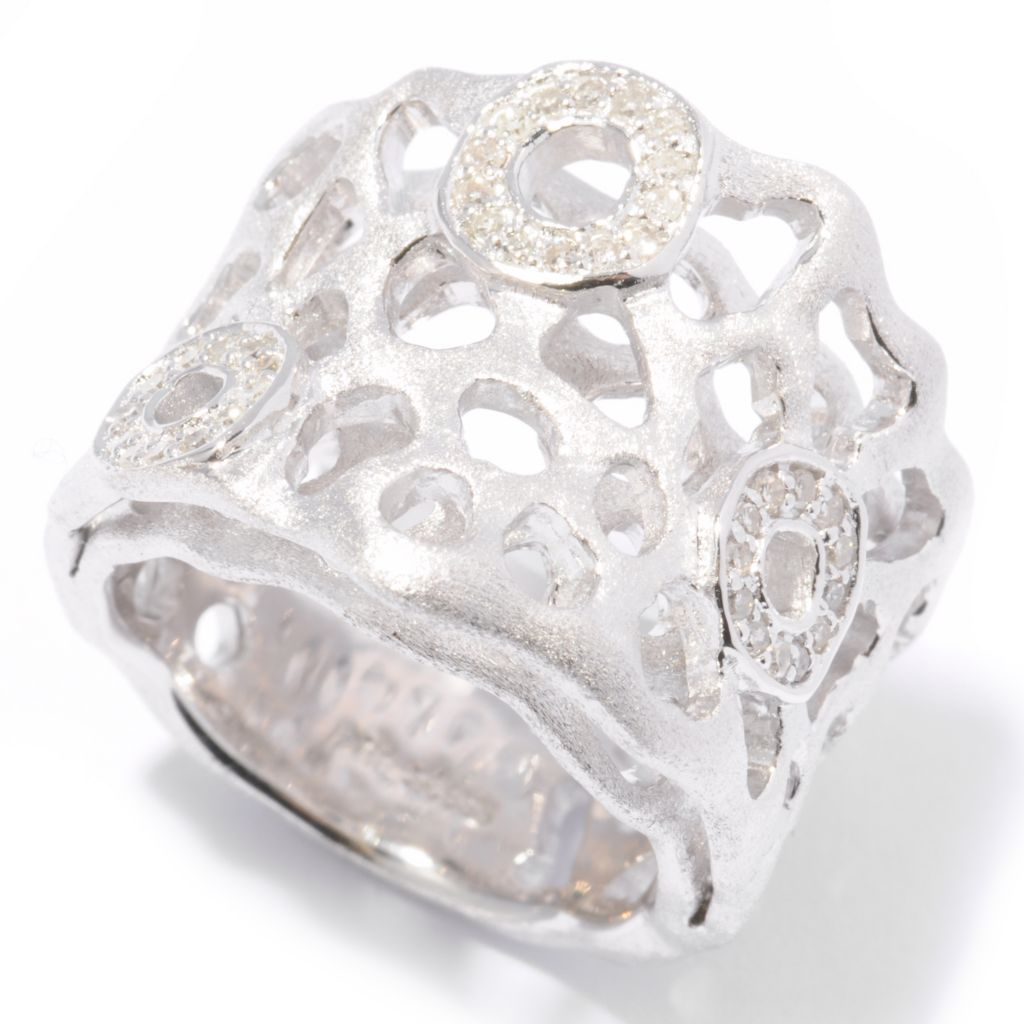 "139-315 - ""As Is"" Effy Sterling Silver 0.14ctw Diamond ""Balissima"" Double Layer Ring - Size 5"