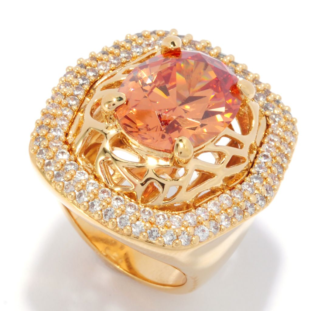 "139-324 - ""As Is"" Bergio 18K Gold Embraced™ 15 x 12mm Oval Simulated Citrine Rectangular Ring"