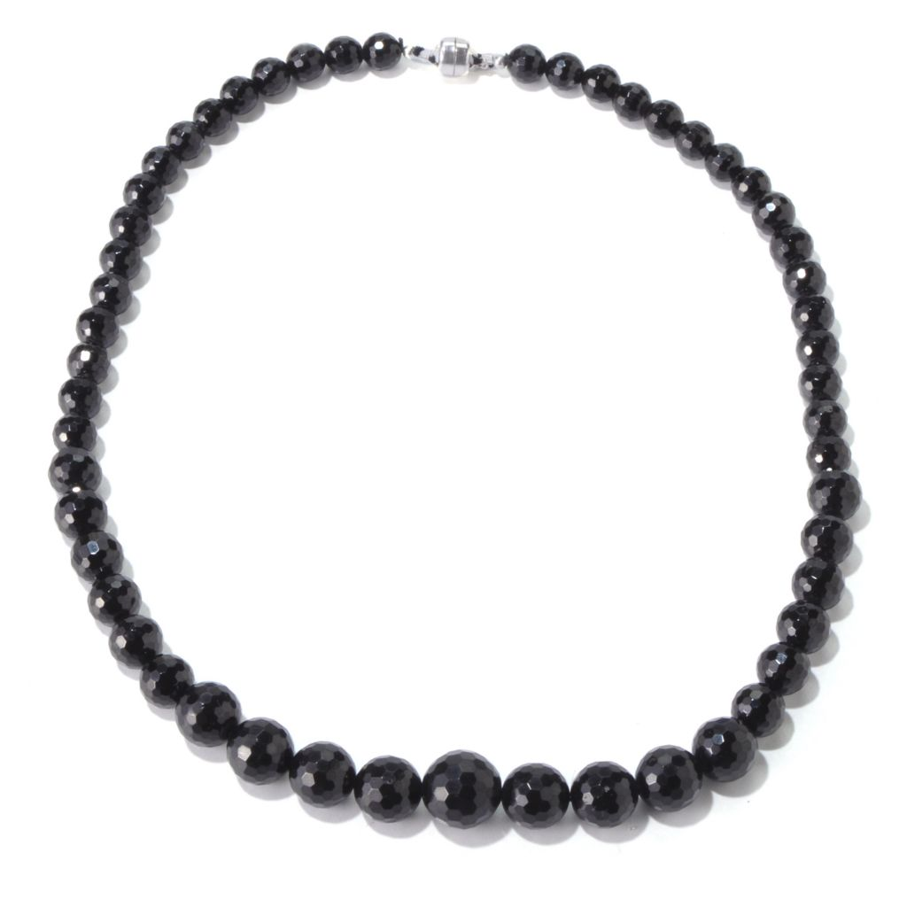 "139-327 - ""As Is"" Gem Treasures Sterling Silver 20"" Black Tourmaline Bead Necklace"