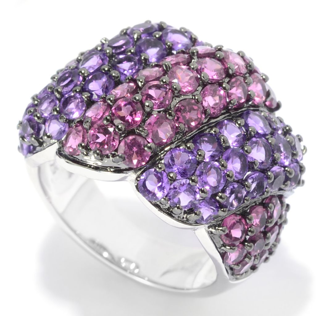 139-328 - Gem Insider Sterling Silver 5.01ctw Amethyst & Rhodolite Wide Band Ring