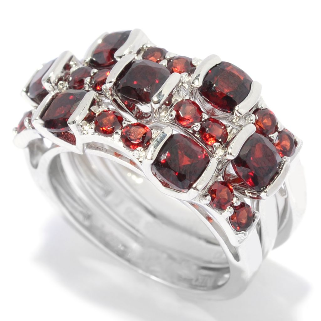 139-329 - Gem Insider Set of Three Sterling Silver 3.51ctw Garnet Station Band Rings