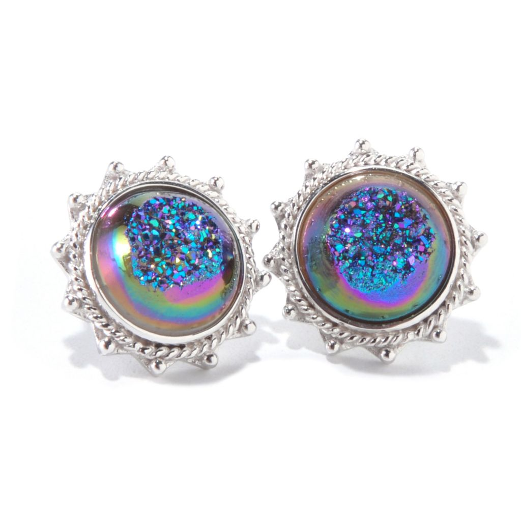 "139-335 - ""As Is"" Gem Insider Sterling Silver 12mm Drusy Filigree Earrings"