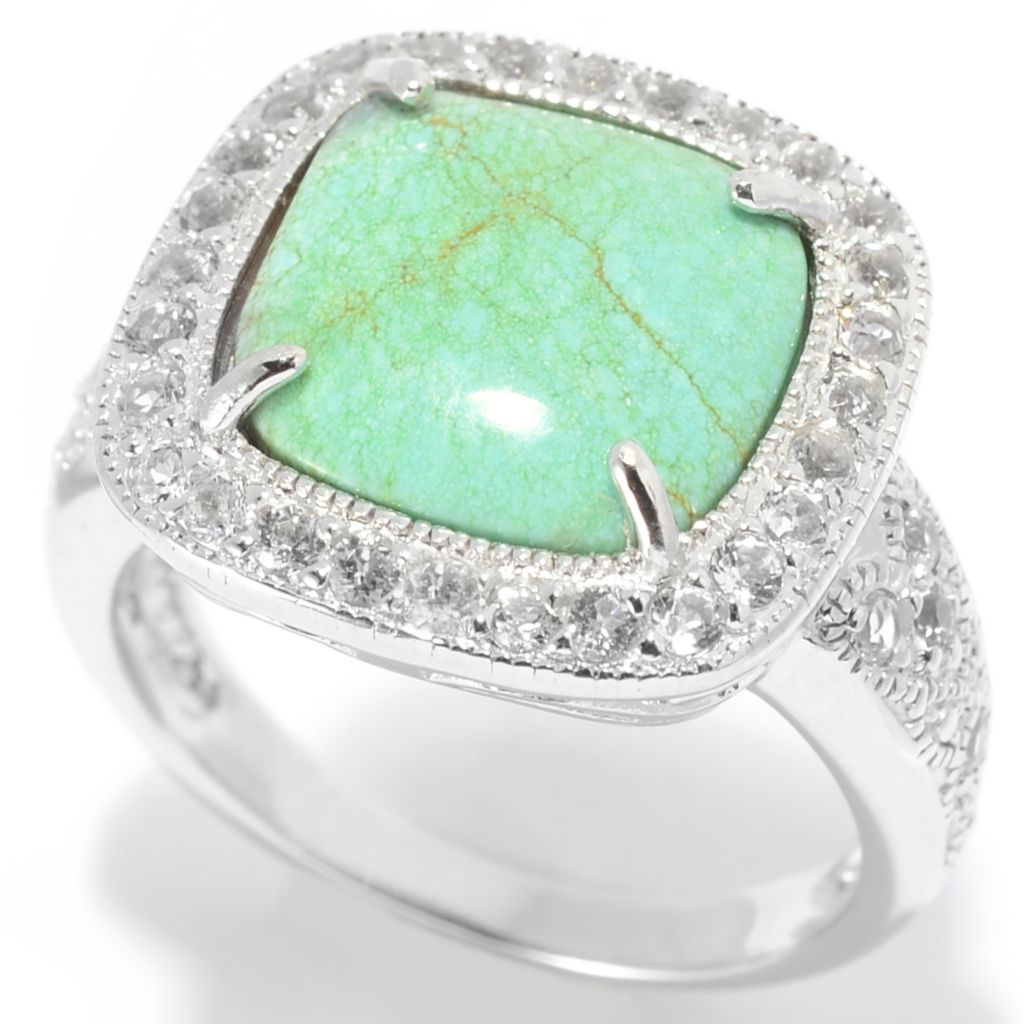 139-336 - Gem Insider Sterling Silver 11mm #8 Turquoise & White Topaz Halo Milgrain Ring