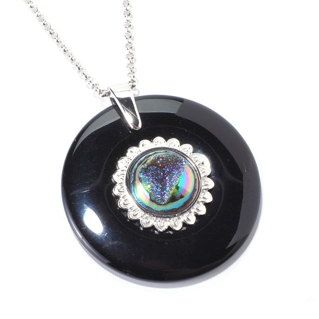 "139-338 - ""As Is"" Gem Insider Sterling Silver 36mm Black Agate & Drusy Pendant w/ 18"" Chain"