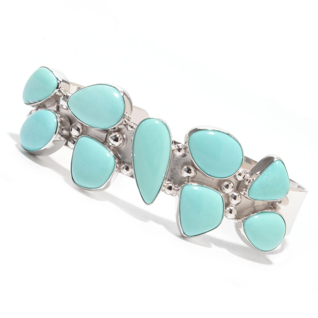 "139-340 - Gem Insider Sterling Silver 7"" Multi Shaped Campitos Mexican Turquoise Bracelet"