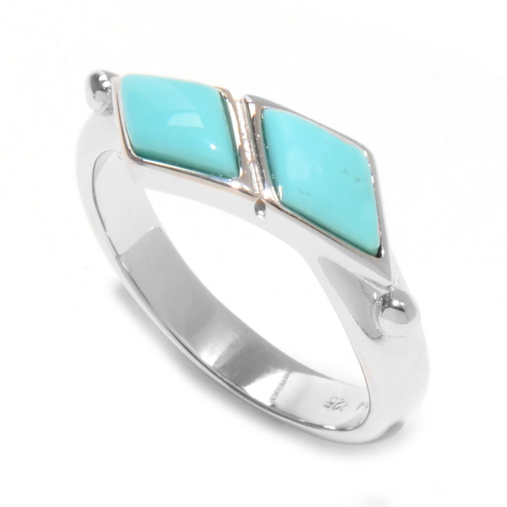 139-343 - Gem Insider Sterling Silver 8 x 4.5mm Campitos Mexican Turquoise Bypass Band Ring