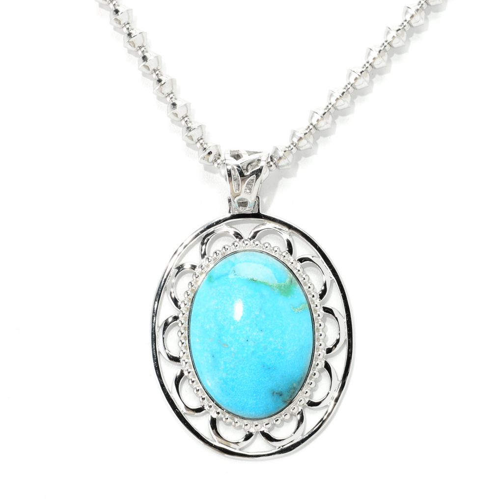 139-346 - Gem Insider Sterling Silver 31 x 23mm Nacozari Mexican Turquoise Openwork Pendant