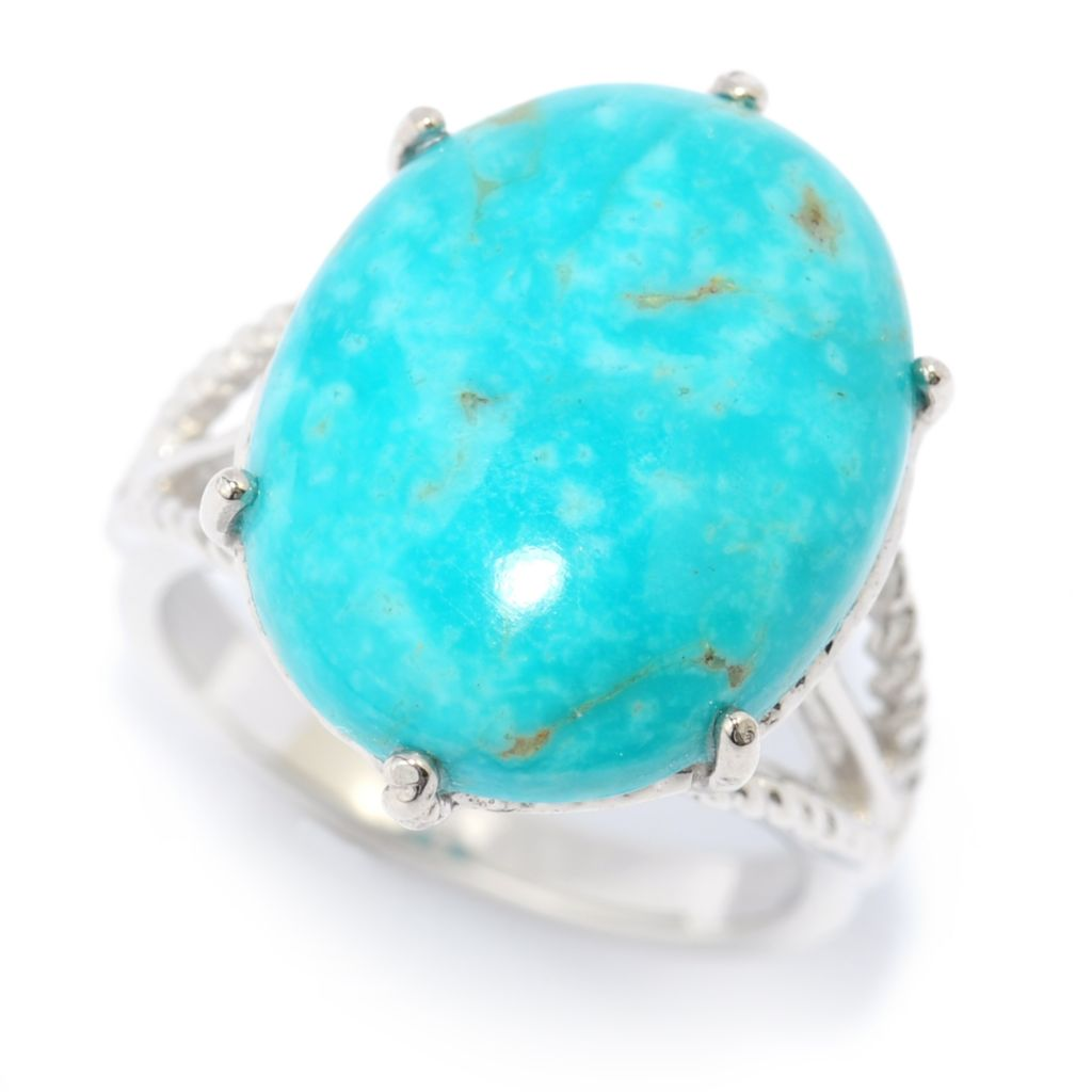 139-349 - Gem Insider Sterling Silver 18 x 14mm Oval Kingman Turquoise Split Shank Ring