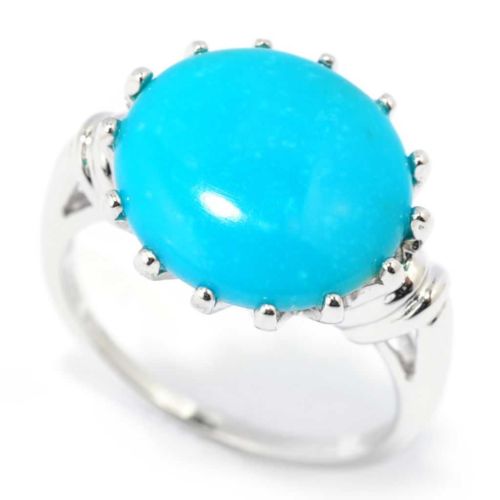 139-350 - Gem Insider Sterling Silver 13 x 12mm Oval Kingman Turquoise Solitaire Ring