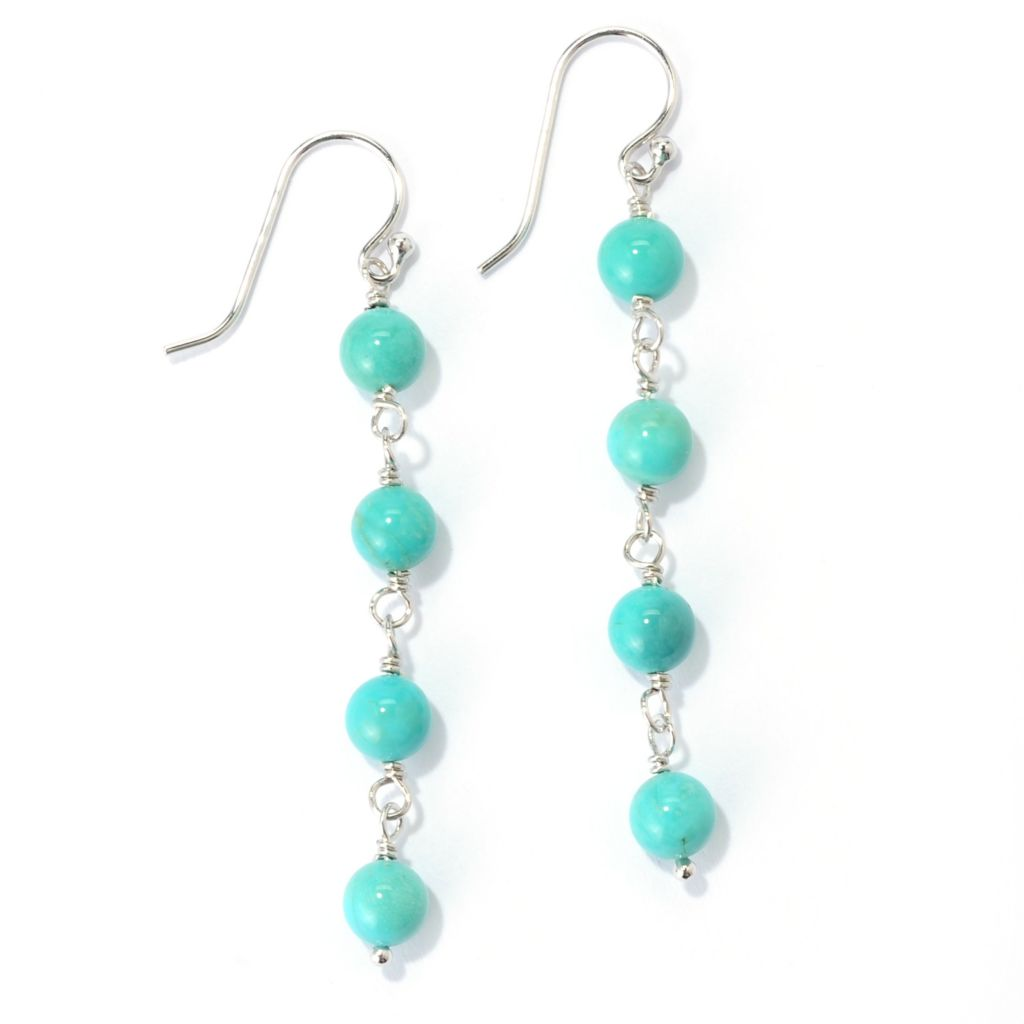"139-351 - Gem Insider Sterling Silver 2"" 6mm Round Turquoise Bead Drop Earrings"