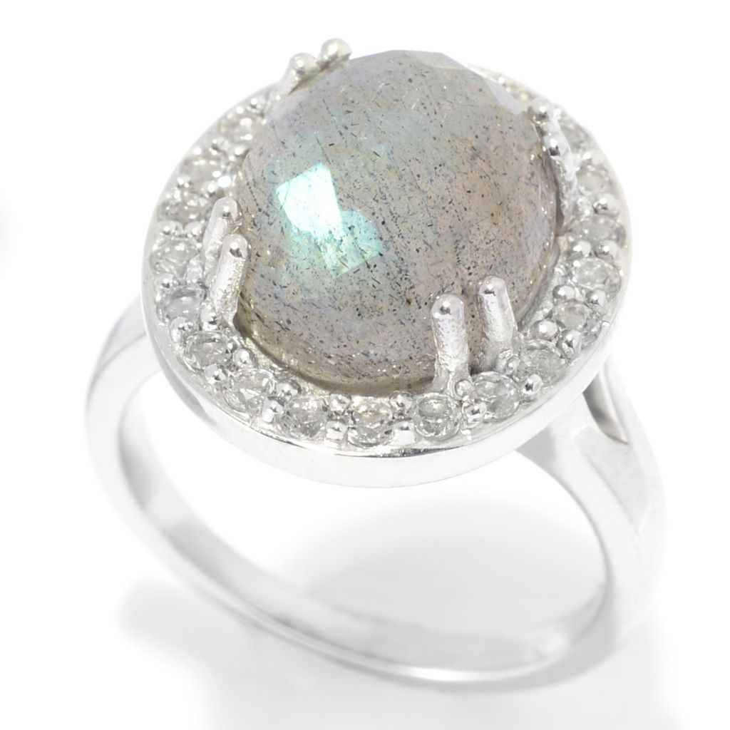 139-353 - Gem Insider Sterling Silver 12 x 10mm Oval Labradorite & White Topaz Ring