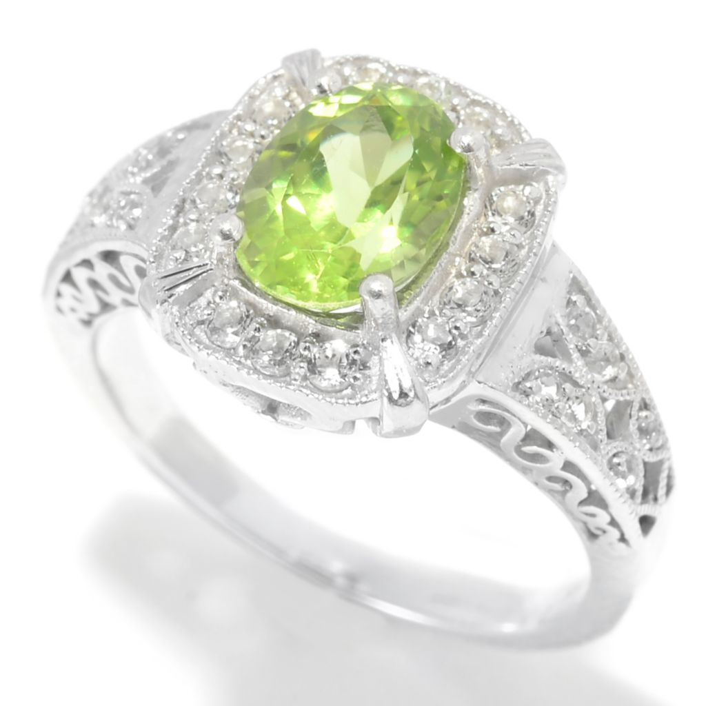 139-354 - Gem Insider Sterling Silver 1.54ctw Peridot & White Topaz Cut-Out Ring