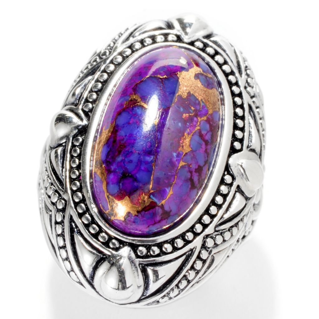 "139-366 - ""As Is"" Gem Insider Sterling Silver 18 x 11mm Oval Purple Mohave Turquoise Ring - Size 5"