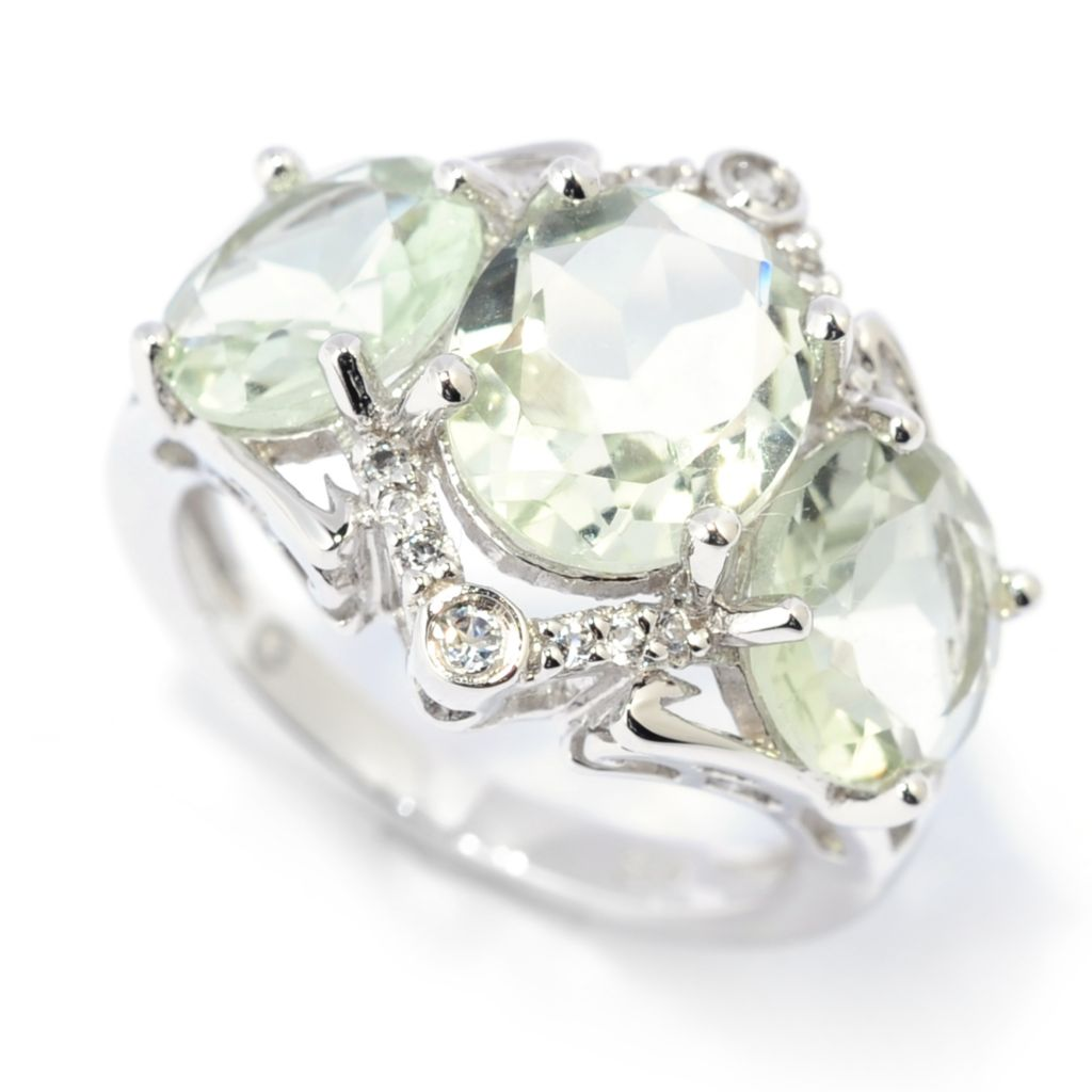 139-387 - Gem Insider Sterling Silver 4.59ctw Prasiolite & White Topaz Three-Stone Ring