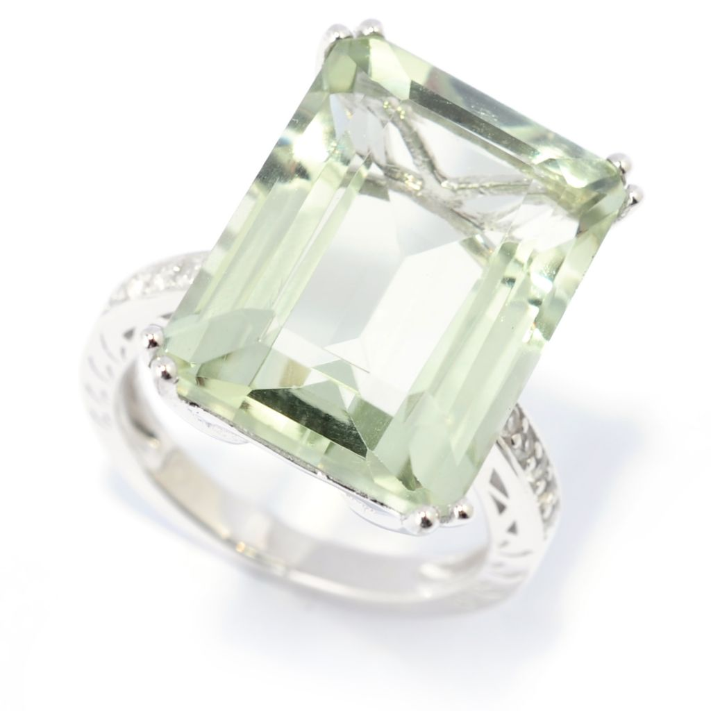 139-388 - Gem Treasures Sterling Silver 10.99ctw Step-Cut Prasiolite & White Topaz Ring