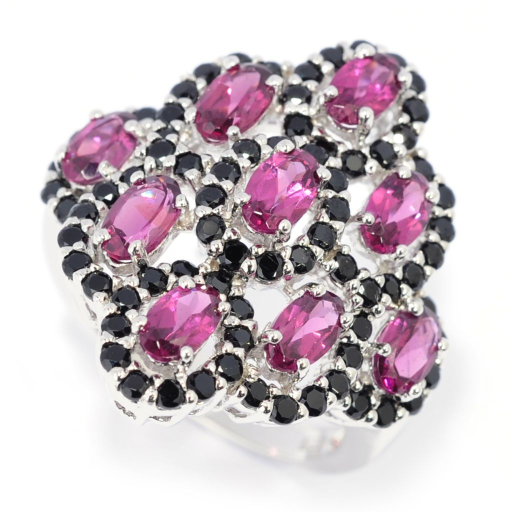 139-389 - Gem Insider Sterling Silver 3.45ctw Rhodolite & Black Spinel Scalloped Ring