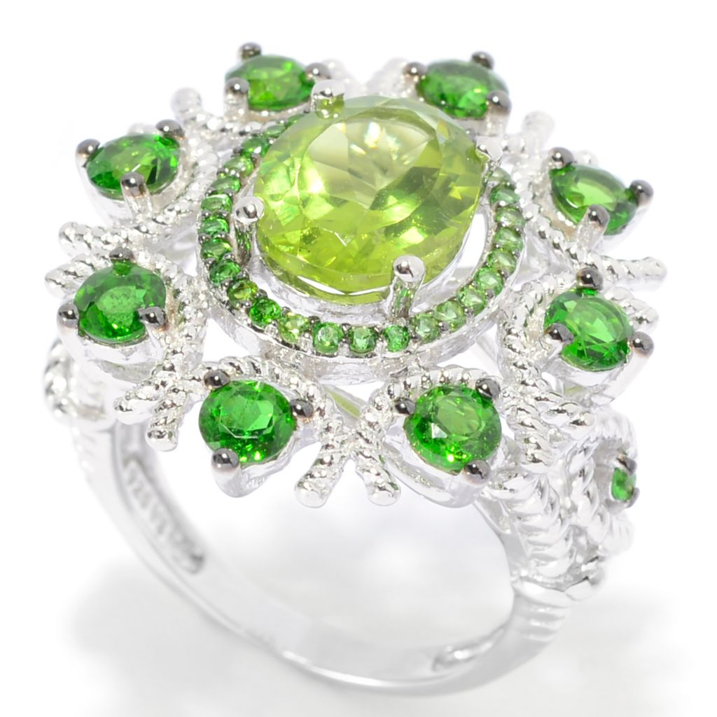 139-390 - Gem Treasures Sterling Silver 4.43ctw Peridot & Chrome Diopside Flower Ring