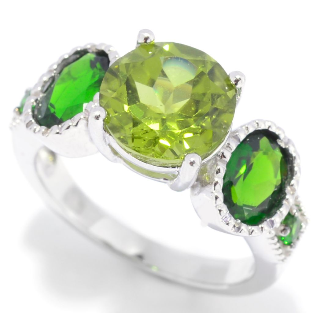 139-393 - Gem Insider Sterling Silver 4.19ctw Peridot & Chrome Diopside Five-Stone Ring