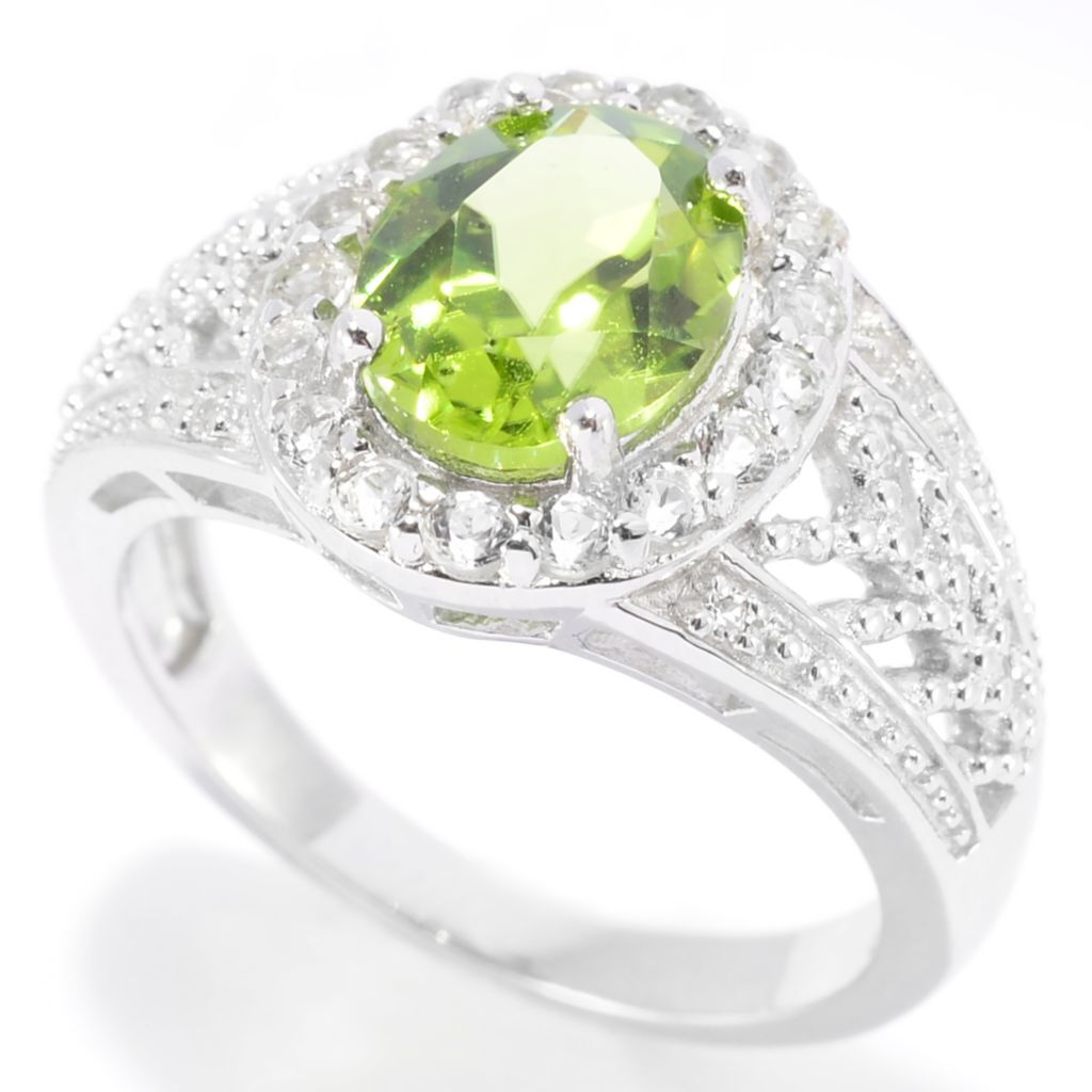 139-394 - Gem Insider Sterling Silver 2.49ctw Peridot & White Zircon Oval Halo Ring