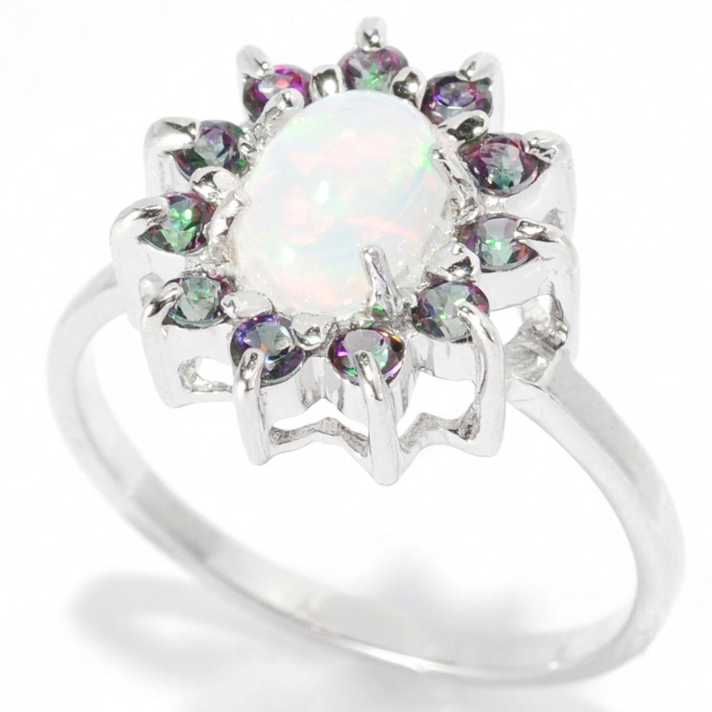 139-397 - Gem Insider Sterling Silver 7 x 5mm Oval Ethiopian Opal & Mystic Topaz Ring