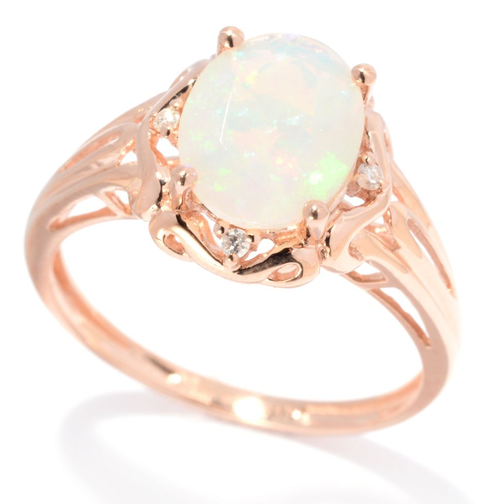 139-399 - Gem Insider 14K Rose Gold 9 x 7mm Ethiopian Opal & Diamond Scrollwork Ring