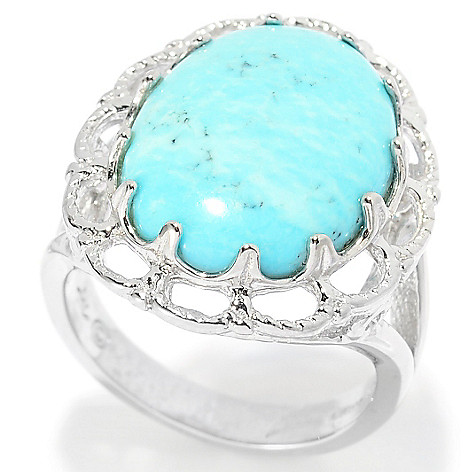 139-401 - Gem Insider™ Sterling Silver 18 x 13mm Oval Turquoise Scalloped Ring