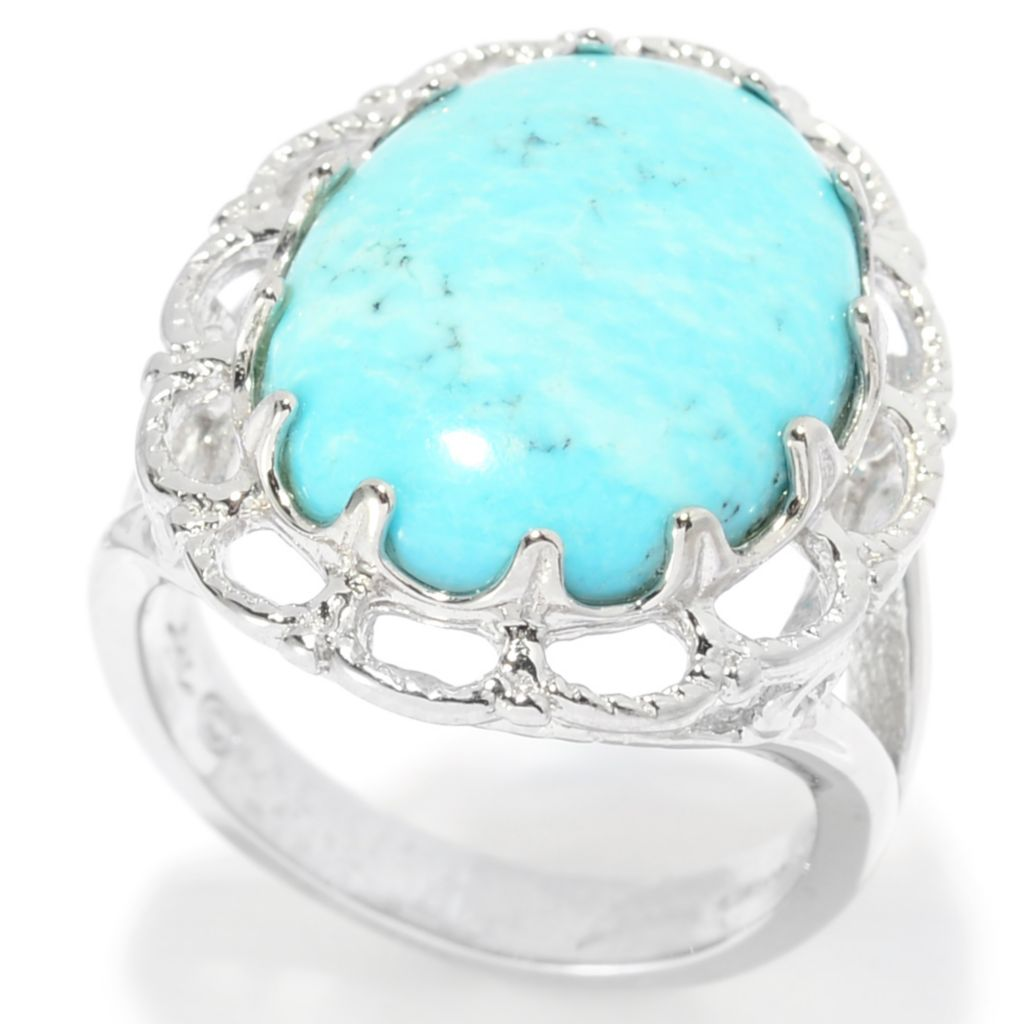 139-401 - Gem Insider Sterling Silver 18 x 13mm Oval Turquoise Scalloped Ring