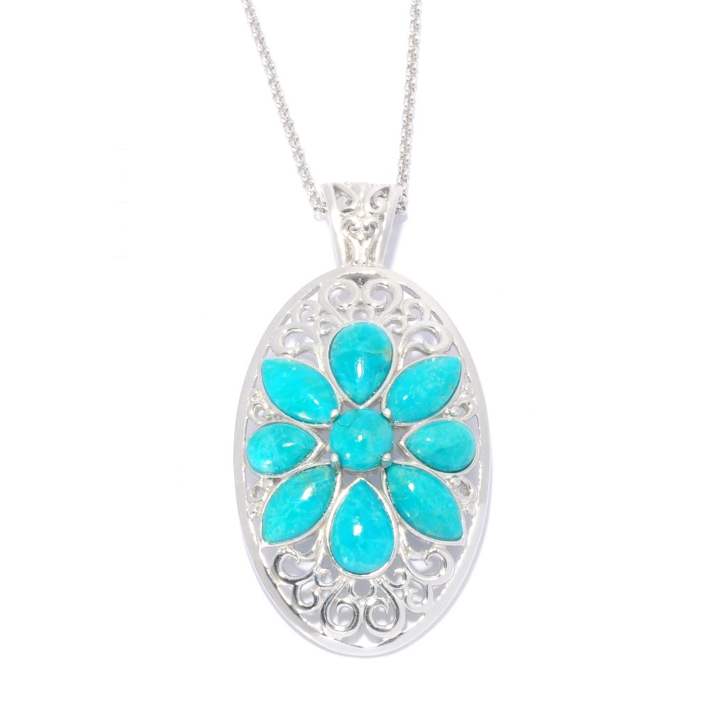 "139-402 - Gem Insider Sterling Silver 10 x 5mm Turquoise Floral Enhancer w/ 18"" Chain"