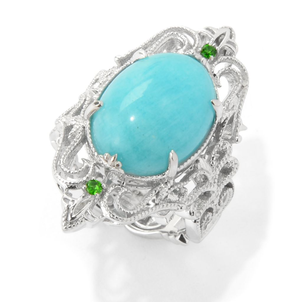139-406 - Dallas Prince Sterling Silver 16 x 12mm Oval Amazonite Filigree Shield Ring