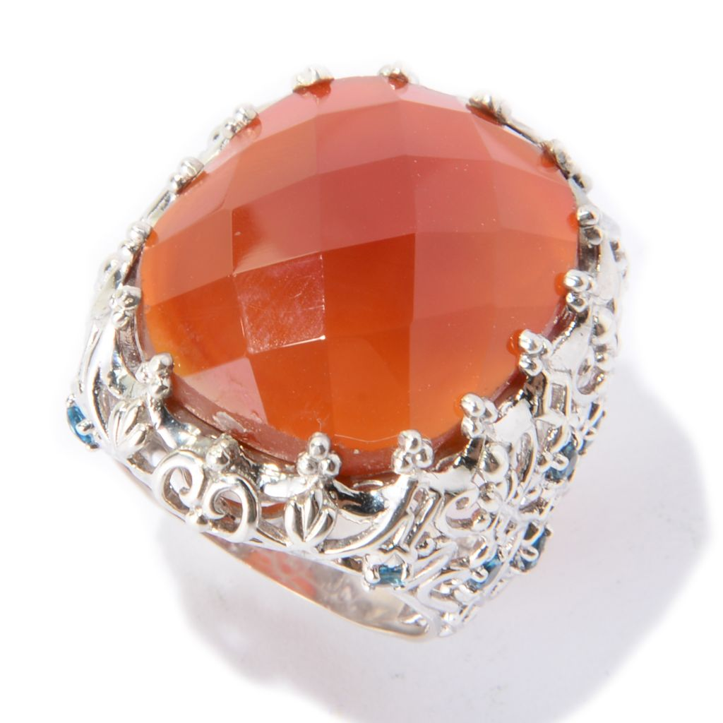 139-407 - Dallas Prince Sterling Silver 23 x 19mm Carnelian & London Blue Topaz Ring