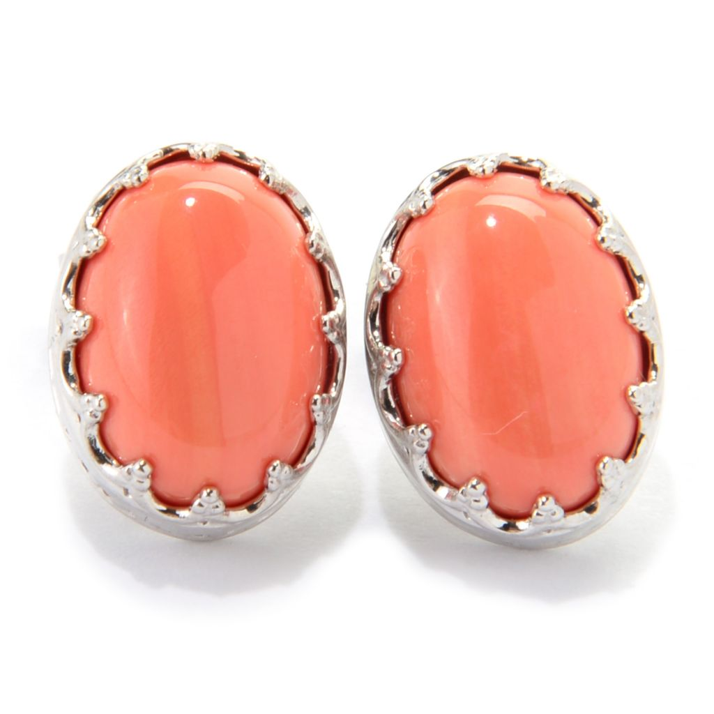 139-410 - Dallas Prince Sterling Silver 14 x 10mm Oval Bamboo Coral Crown Earrings