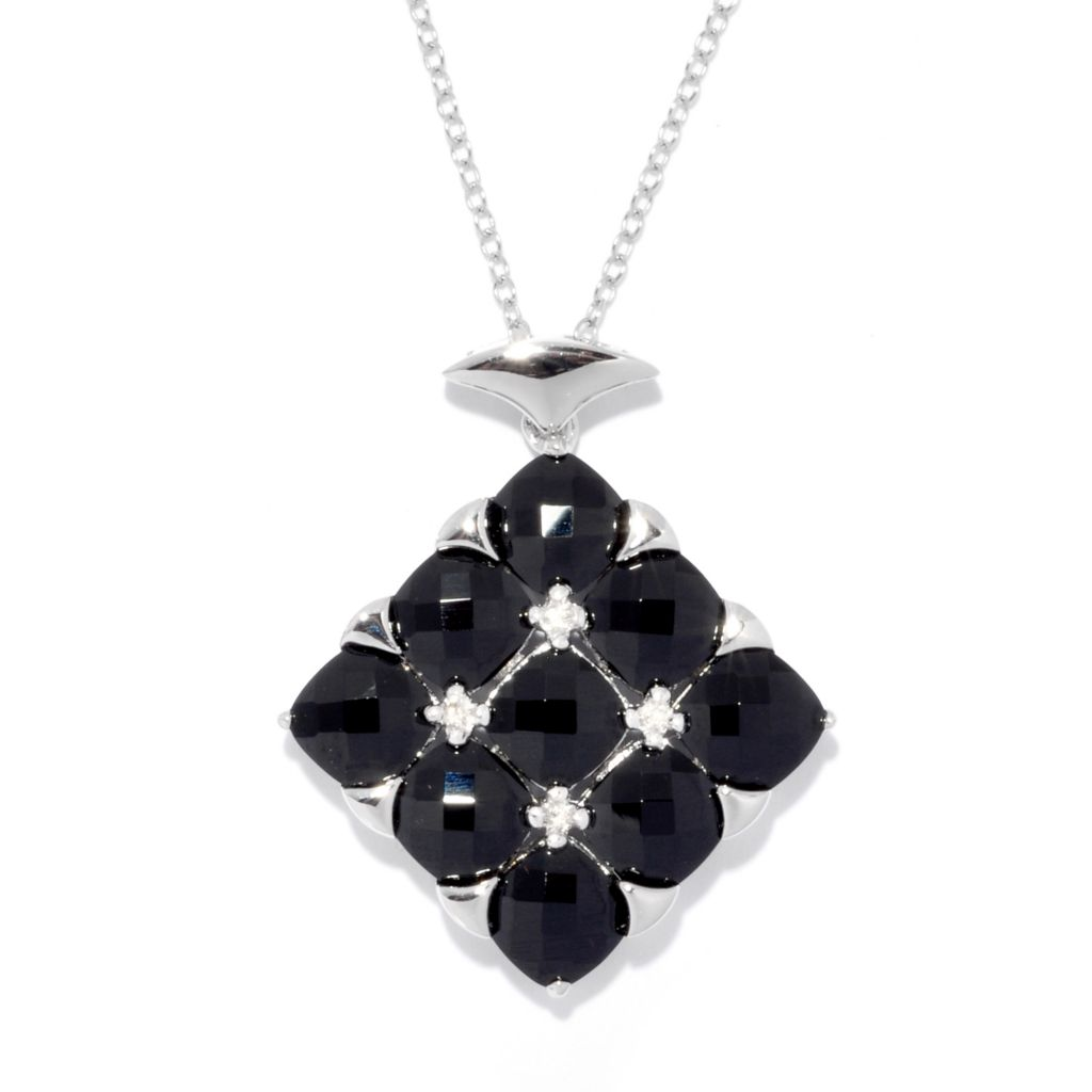 "139-412 - Gem Treasures Sterling Silver 6mm Black Spinel Drop Pendant w/ 18"" Chain"