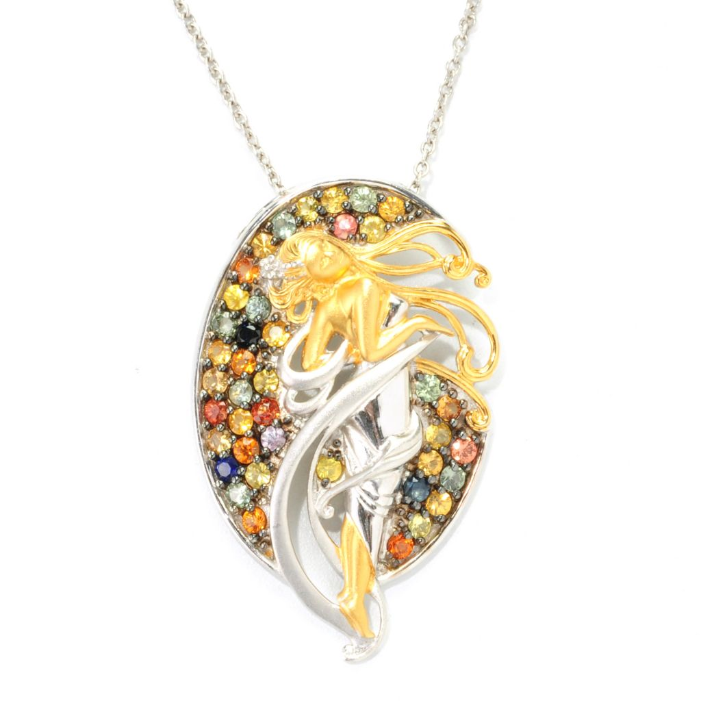 "139-414 - Gems en Vogue II 3.20ctw Round Multi Sapphire Sculpted Goddess Pendant w/ 18"" Chain"