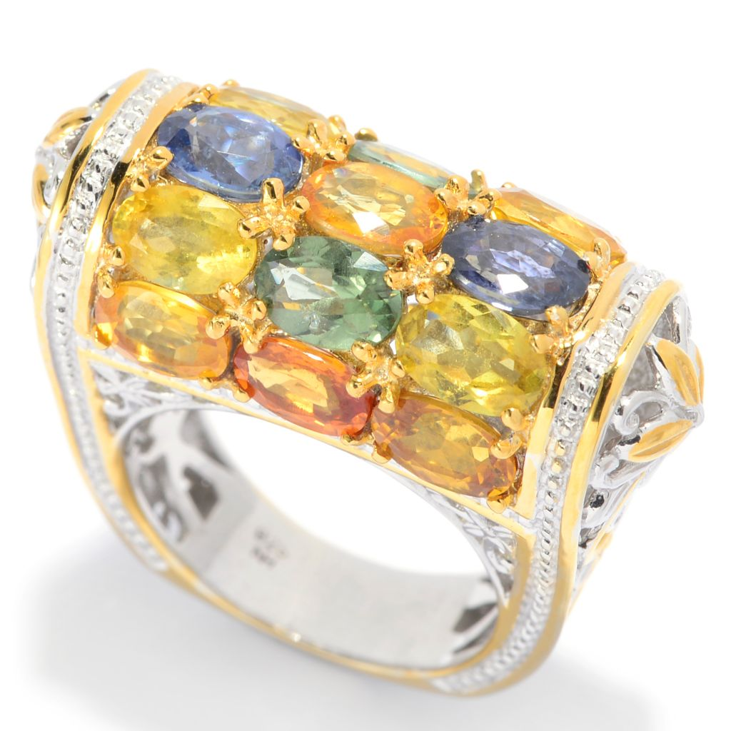139-416 - Gems en Vogue II 7.80ctw Oval Multi Colored Sapphire Barrel Top Ring