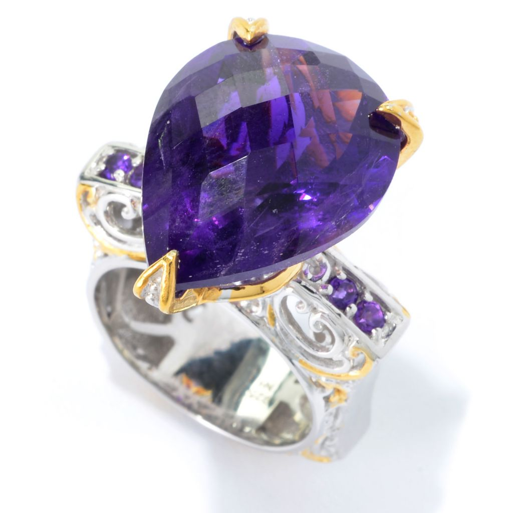139-417 - Gems en Vogue 13.66ctw Pear Shaped Tanzanian Color Shift Amethyst Ring