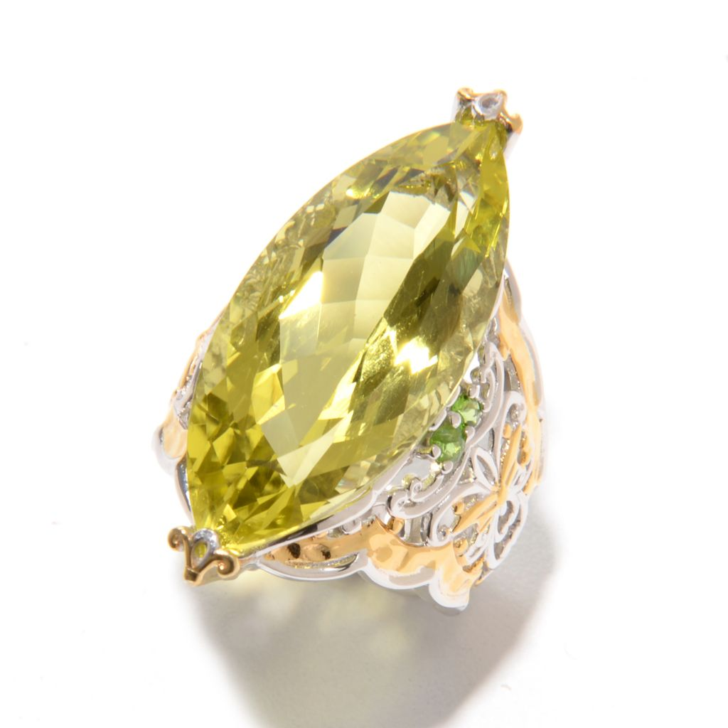 139-418 - Gems en Vogue II 14.22ctw Marquise Shaped Ouro Verde & Chrome Diopside Scrollwork Ring