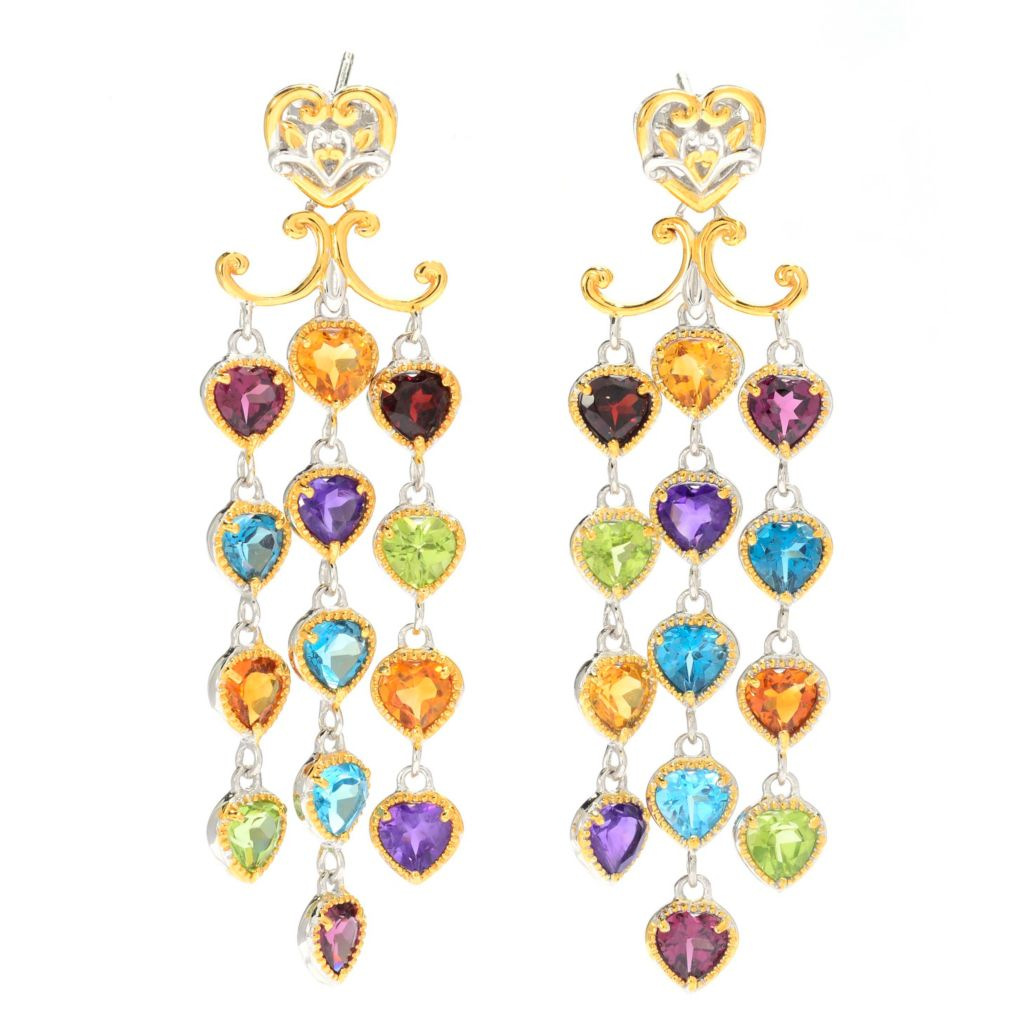 "139-419 - Gems en Vogue II 2.5"" 12.08ctw Heart Shaped Multi Gemstone Dangle Earrings"